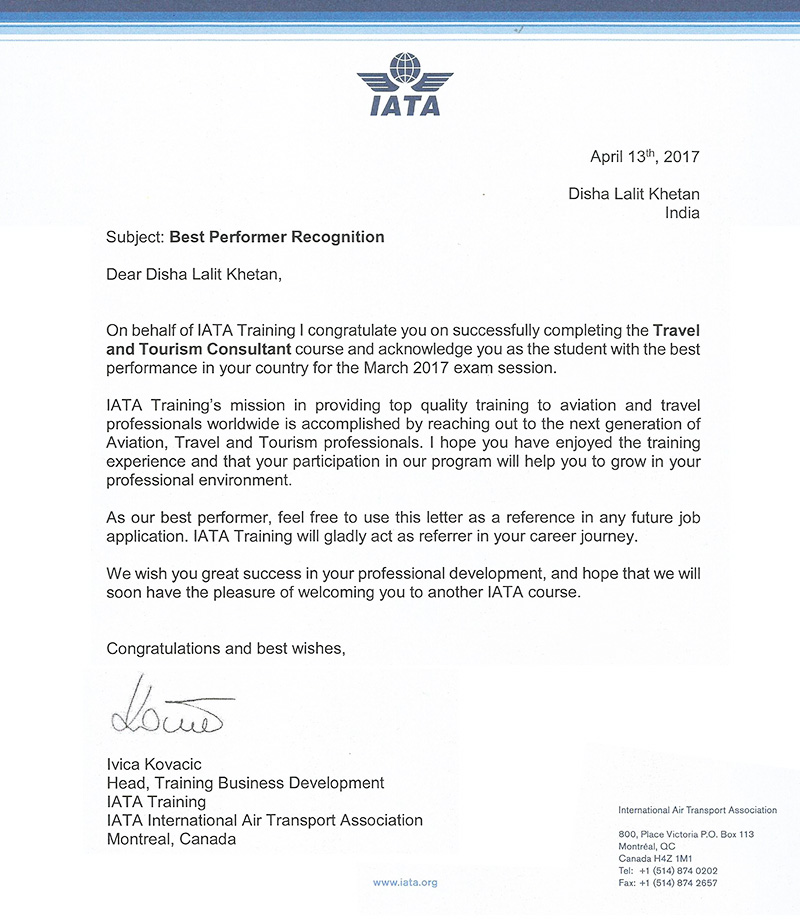 Disha Lalit Kehtan awarded Best Performance Recognition by IATA for topping in IATA Consultant Examination